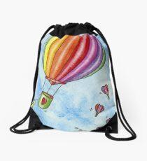 Rainbow Heart Hot Air Balloon Drawstring Bag