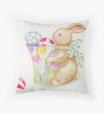 Easter Bunny Egg Sentries Throw Pillow