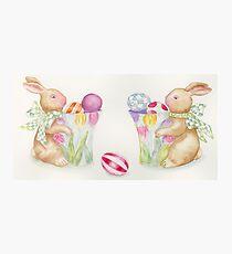 Easter Bunny Egg Sentries Photographic Print