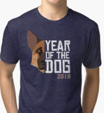 Chinese New Year 2018 Year of the Dog - German Shepherd Tri-blend T-Shirt