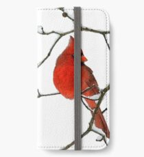Red Cardinal Digital Oil Painting iPhone Wallet/Case/Skin