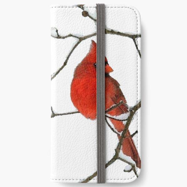Red Cardinal Digital Oil Painting iPhone Wallet