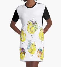 Easter Chicks & Eggshell Baskets Graphic T-Shirt Dress