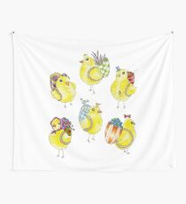 Easter Chicks & Eggshell Baskets Wall Tapestry