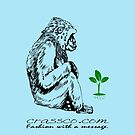 Monkey with plant by fuxart