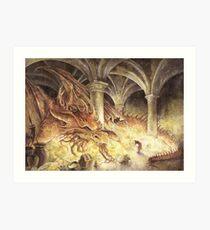 Bilbo and Smaug the Dragon Art Print