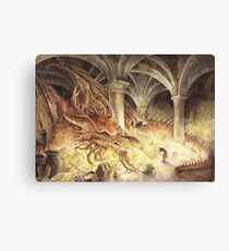 Bilbo and Smaug the Dragon Canvas Print