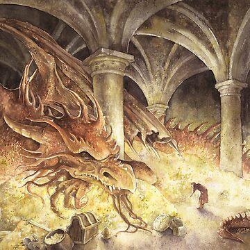 Bilbo and Smaug the Dragon by kkmiecikart