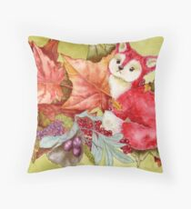 Fancy Fall Fox & Leaves Throw Pillow