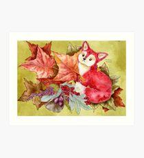 Fancy Fall Fox & Leaves Art Print