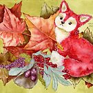 Fancy Fall Fox & Leaves by Hajra Meeks