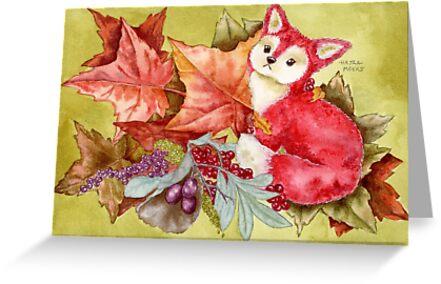 Fancy Fall Fox & Leaves by Hajra Meeks
