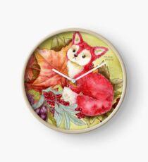 Fancy Fall Fox & Leaves Clock