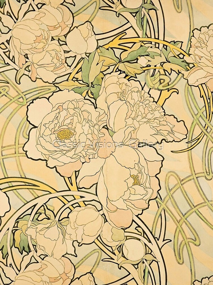 'Peonies' by Alphonse Mucha (Reproduction) by RozAbellera