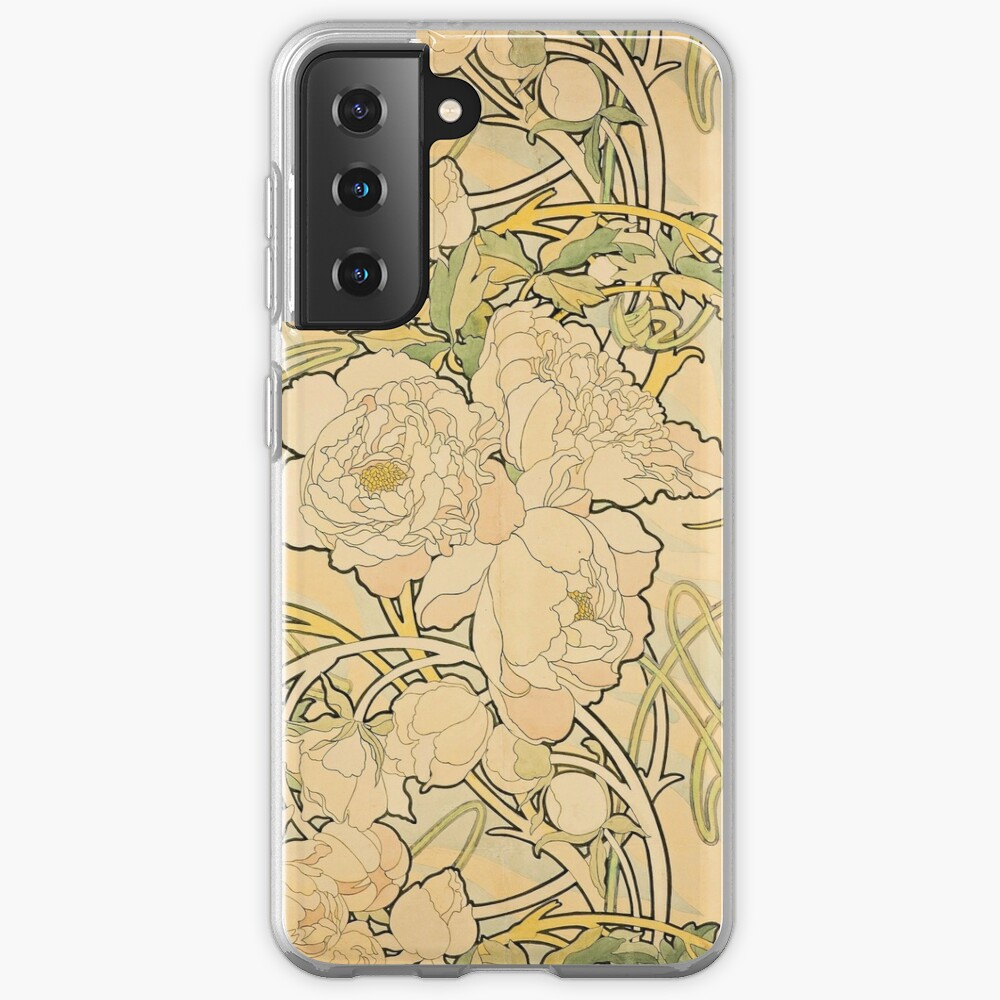 'Peonies' by Alphonse Mucha (Reproduction) Case & Skin for Samsung Galaxy