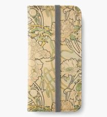 'Peonies' by Alphonse Mucha (Reproduction) iPhone Wallet/Case/Skin