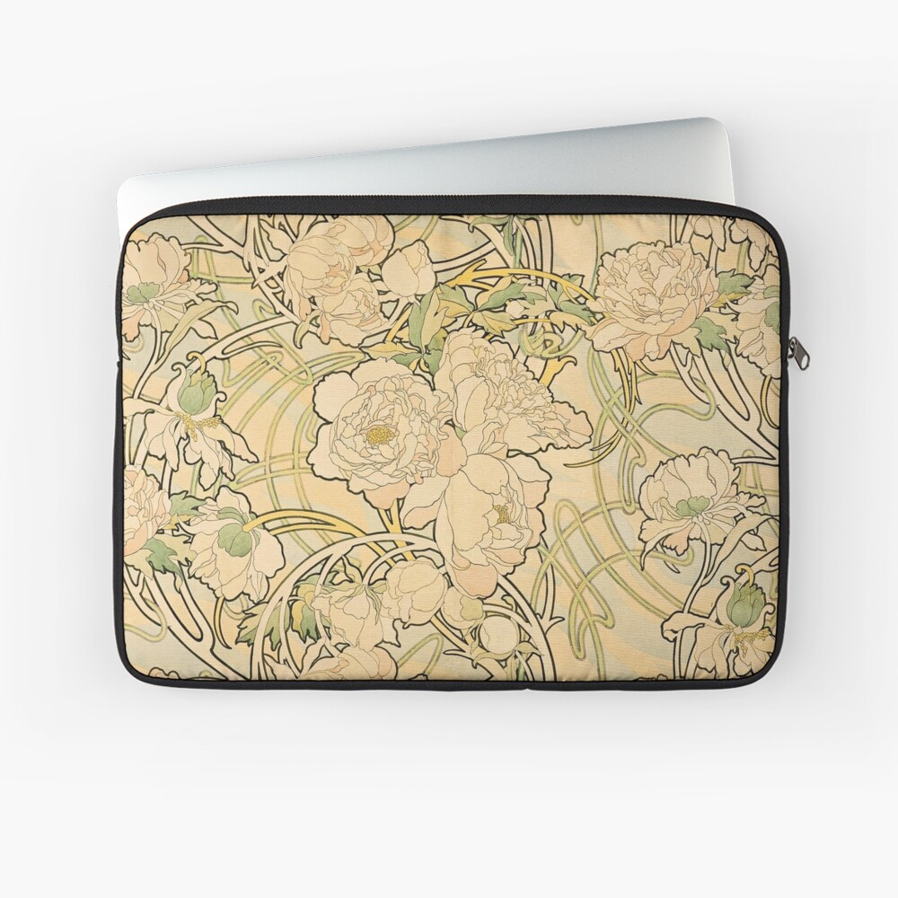 'Peonies' by Alphonse Mucha (Reproduction) Laptop Sleeve