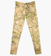 'Peonies' by Alphonse Mucha (Reproduction) Leggings