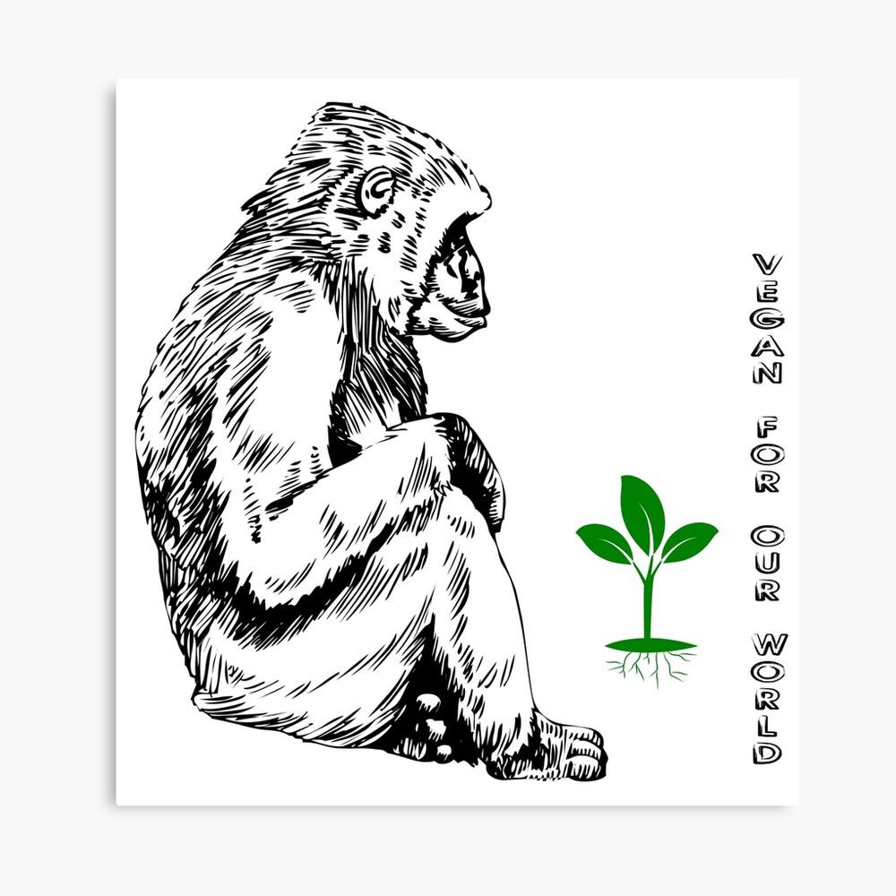 Affe mit Pflanze Leinwanddruck