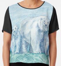 Polar Bear Family Painting Chiffon Top