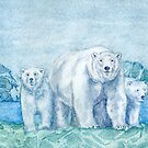 Polar Bear Family Painting by Hajra Meeks