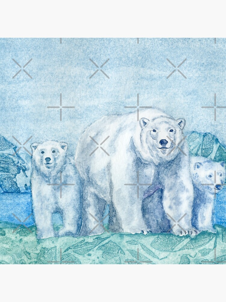 Polar Bear Family Painting by HajraMeeks