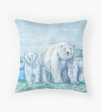 Polar Bear Family Painting Throw Pillow