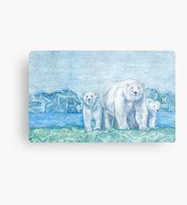 Polar Bear Family Painting Metal Print