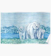 Polar Bear Family Painting Poster