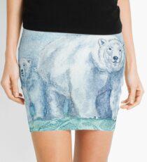 Polar Bear Family Painting Mini Skirt
