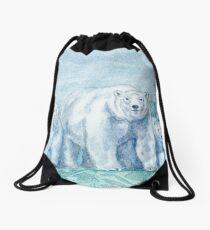 Polar Bear Family Painting Drawstring Bag