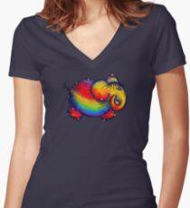 Rainbow Elephant Tshirt Women's Fitted V-Neck T-Shirt