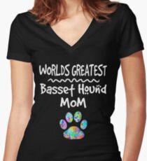 Worlds Greatest Basset Hound Mom T-Shirt Women's Fitted V-Neck T-Shirt