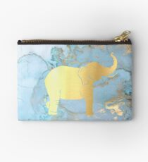 Gold Elephant on Painted Metallic Background Zipper Pouch