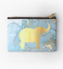 Gold Elephant auf gemaltem metallischem Hintergrund Täschchen