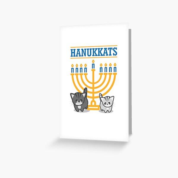 Hanukkats Funny Hanukkah Cat Kitten Menorah Hanukiah Greeting Card