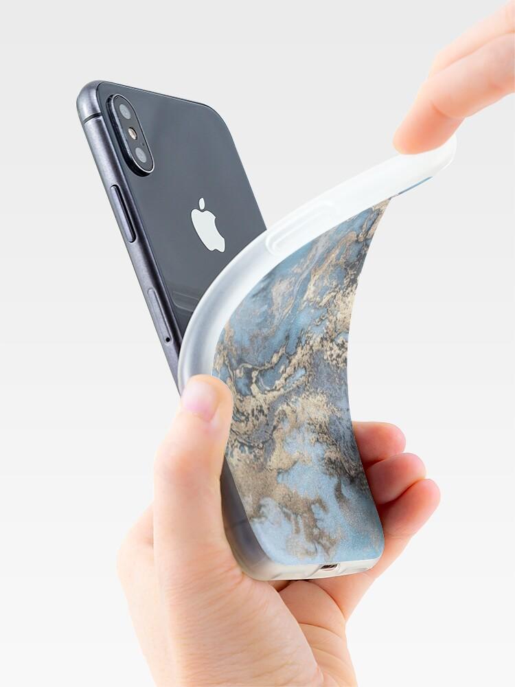 Alternative Ansicht von Blau und Gold Marmor iPhone-Hülle & Cover