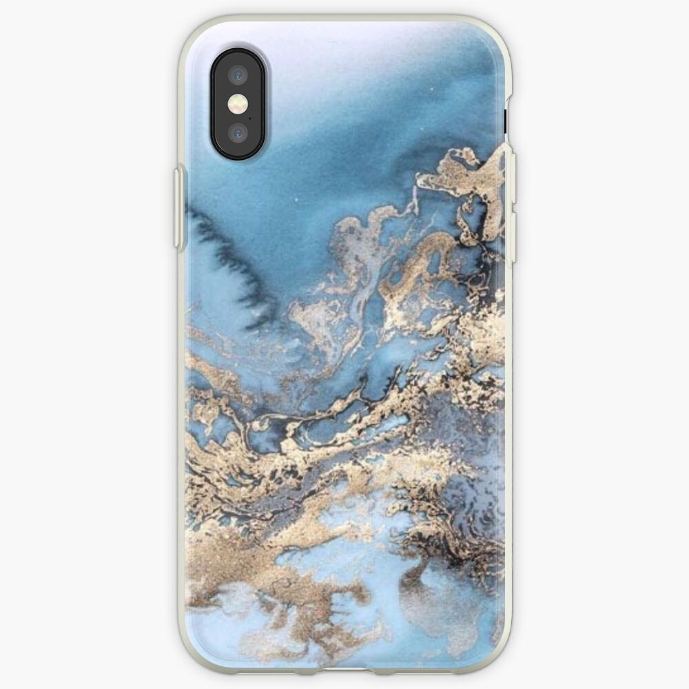 Blau und Gold Marmor iPhone-Hülle & Cover