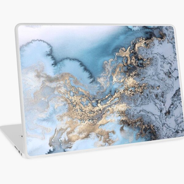 Blue and Gold Marble Laptop Skin