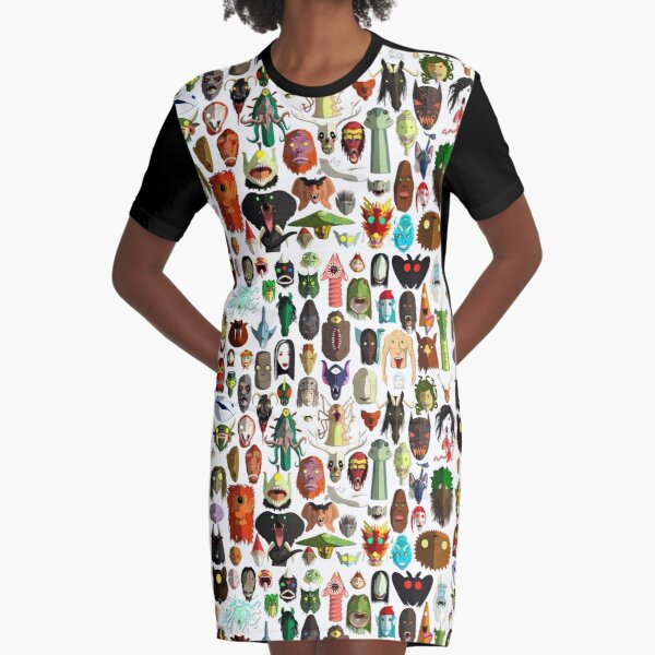 85 World Monster Faces Graphic T-Shirt Dress