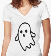 Cute ghost Women's Fitted V-Neck T-Shirt