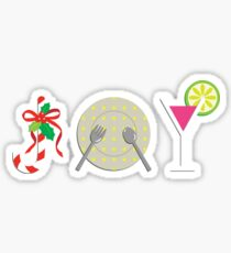 Christmas Dinner with Joy, Candy, Food and Martini  Sticker