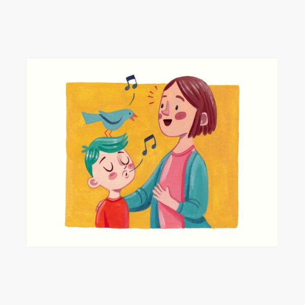 Birdsong Learning - Eltern und Kind Kunstdruck
