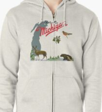 Greetings From Michigan! Zipped Hoodie