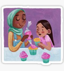 Baking Cupcakes- Parent and Child Sticker