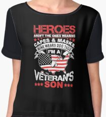 Heroes Don't Wear Capes They Wear Dog Tags Son T Shirt Women's Chiffon Top