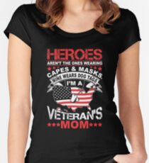 Heroes Don't Wear Capes They Wear Dog Tags Mom T Shirt Women's Fitted Scoop T-Shirt