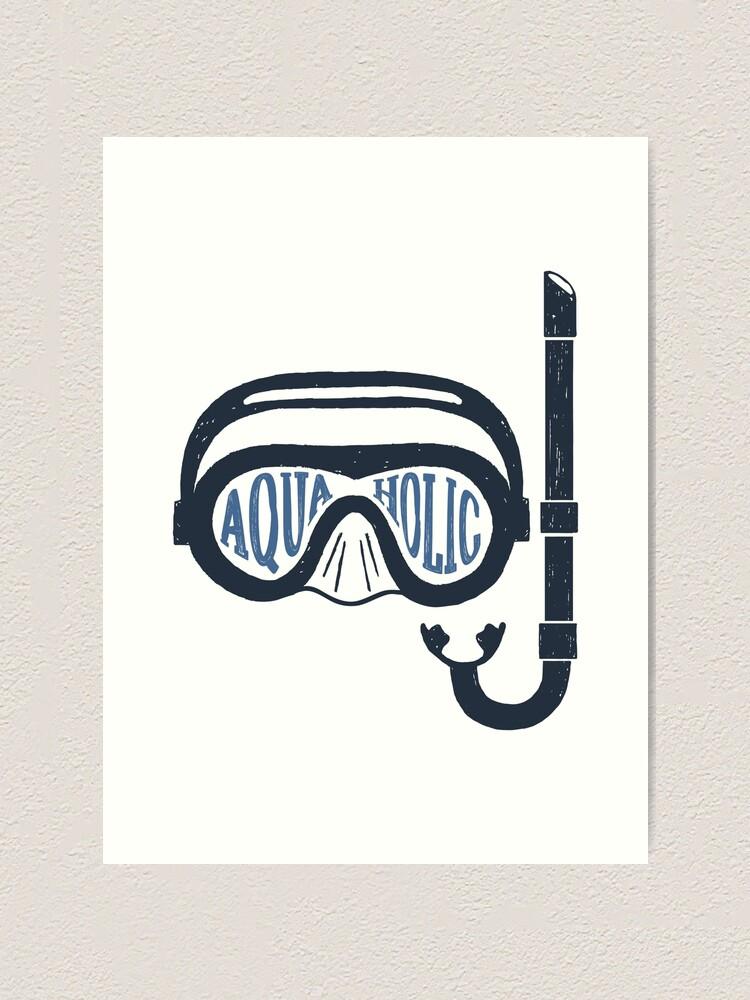 Alternate view of Aquaholic Swim Mask and Snorkel for Swimmers & Ocean Explorers Art Print