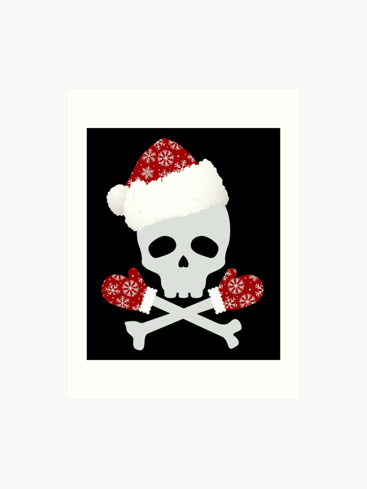 Christmas Skeleton.Skeleton Skull Bones Funny Christmas Mitten Santa Art Print