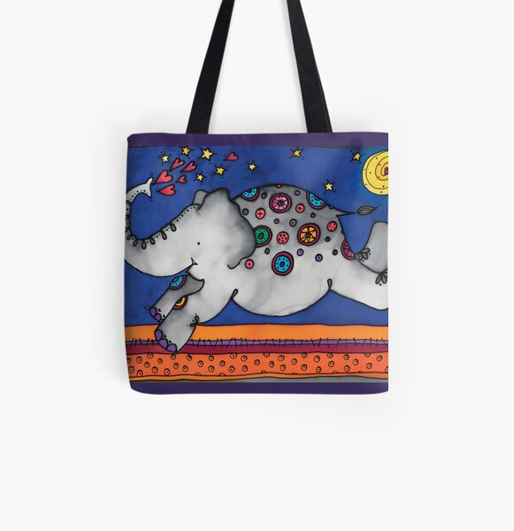 Whimsical elephant, Felicity, will make you smile All Over Print Tote Bag
